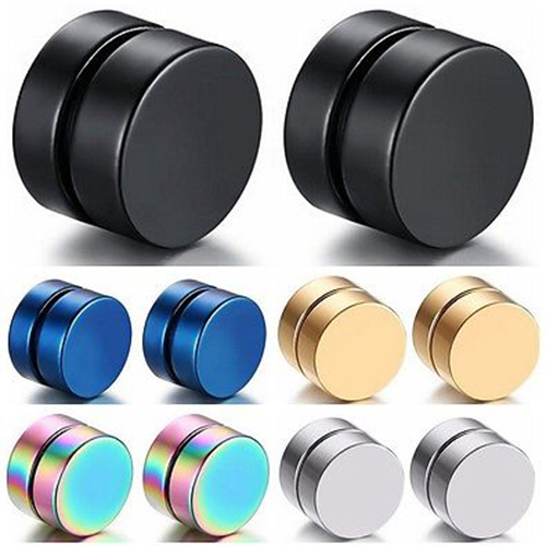 Men Fashion Round Stainless Steel Magnetic Clip On No Piercing Ear Stud Earrings