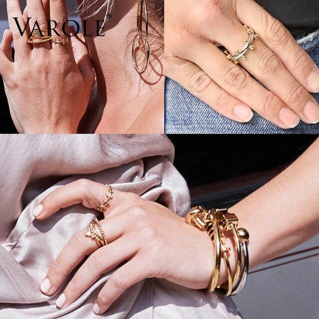 VAROLE Doppia Fila Palla Disposizione Anelli Color Oro Midi Anello 100% Anello di Rame Knuckle Rings Per Le Donne anel Monili