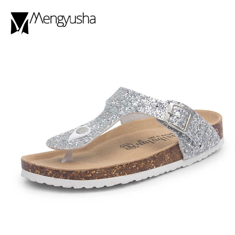 black/silver glitter cork sandals 2018 women summer sequined beach slipper flip flops sandals shoes flat with plus size 45 c464