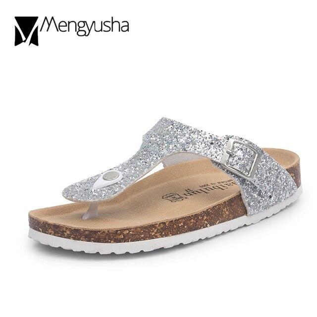 e01003ee1 black/silver glitter cork sandals 2018 women summer sequined beach slipper flip  flops sandals shoes flat with plus size 45 c464