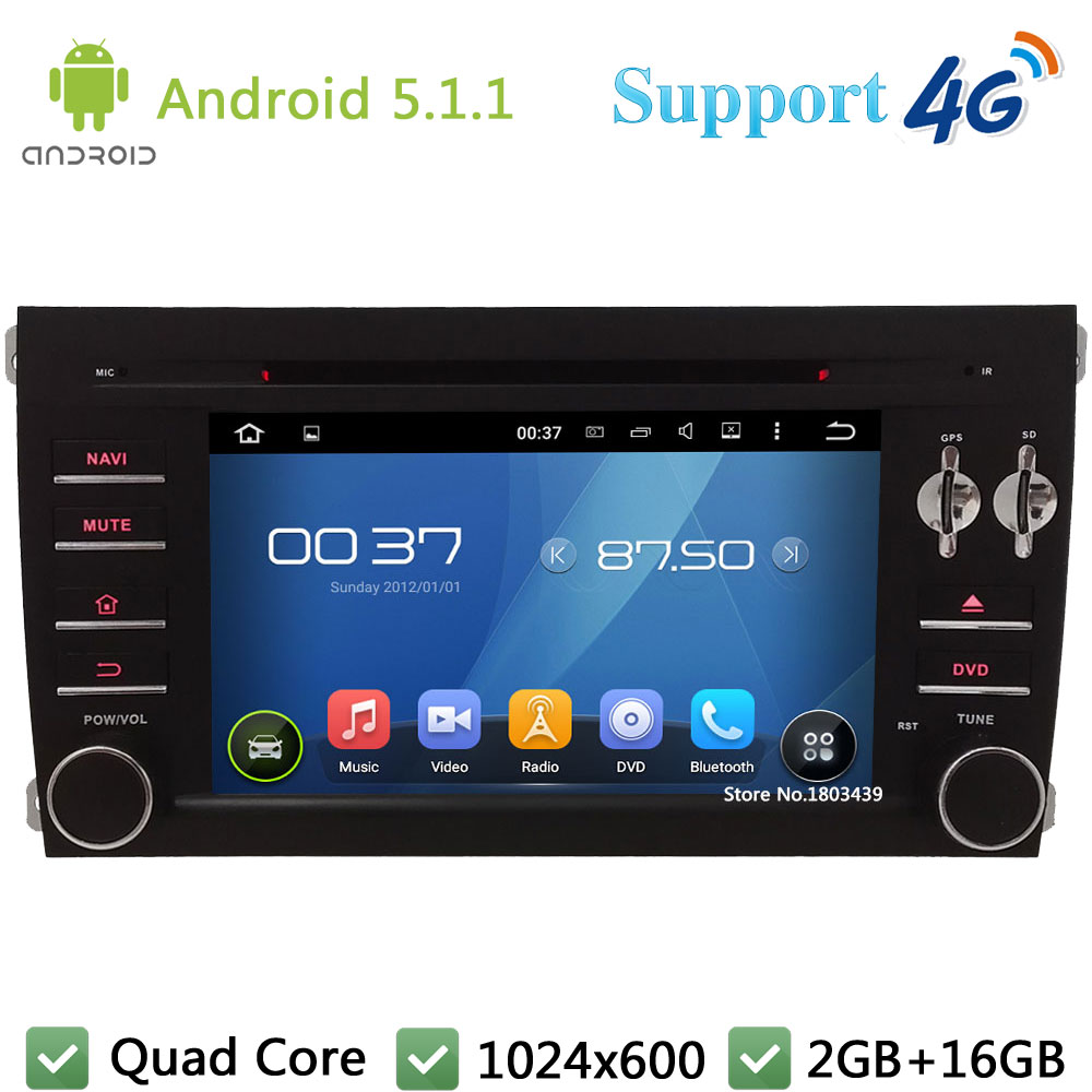 Quad Core 7″ 1024*600 2Din Android 5.1.1 Car DVD Video Player Radio BT FM DAB+ 3G/4G WIFI GPS Map For Porsche Cayenne 2003-2010