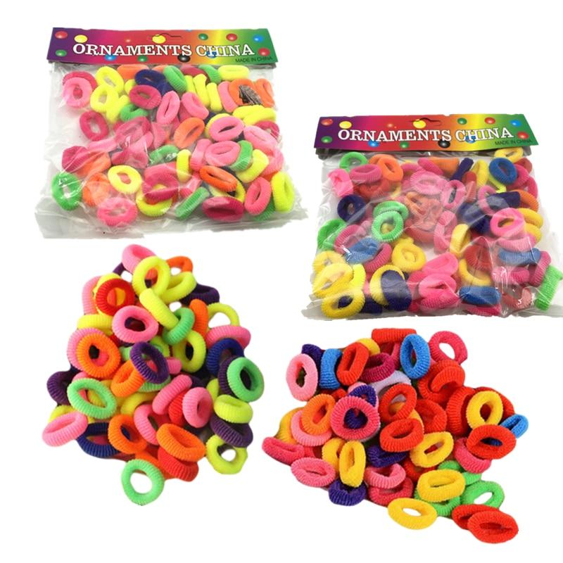Для девочек 3 Размеры (100/200/400 шт.) Аксессуары для волос Упругие волосы резинкой держатели головной убор и галстук резинка для волос разные цвета