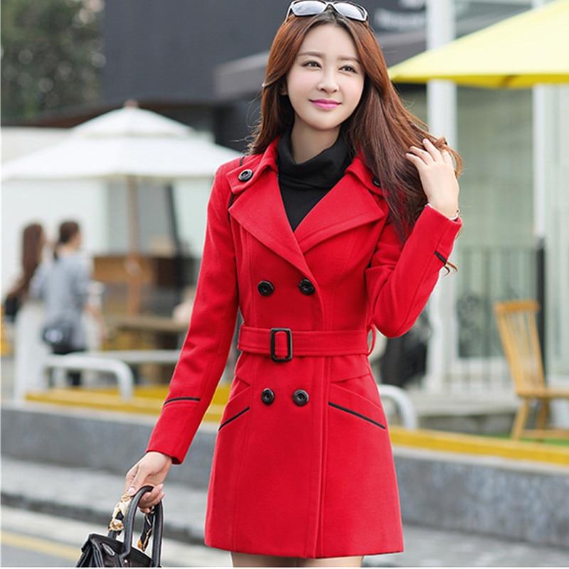 Women Windbreaker Double Breasted Slim Overcoat Long Coat Trench Outwear M-3XL