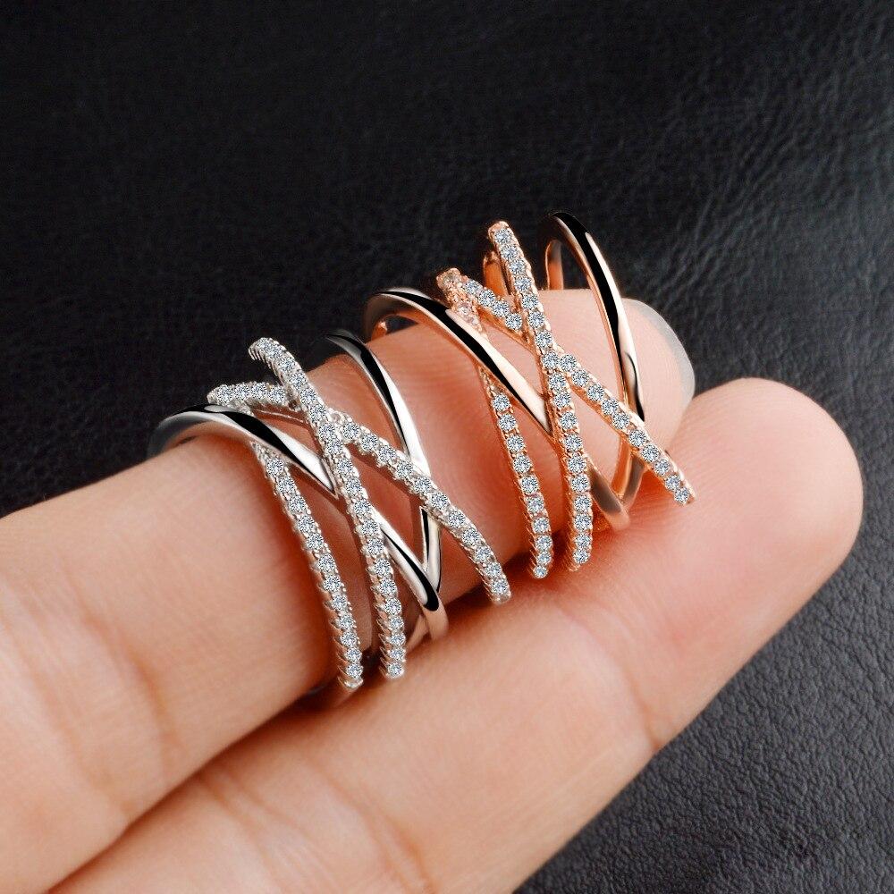 Двухслойное кольцо с цирконием, простое 925 пробы, серебряное, Золотое кольцо, кольца для женщин, ювелирные изделия Anel, ювелирные изделия Aneis, подарок для любви