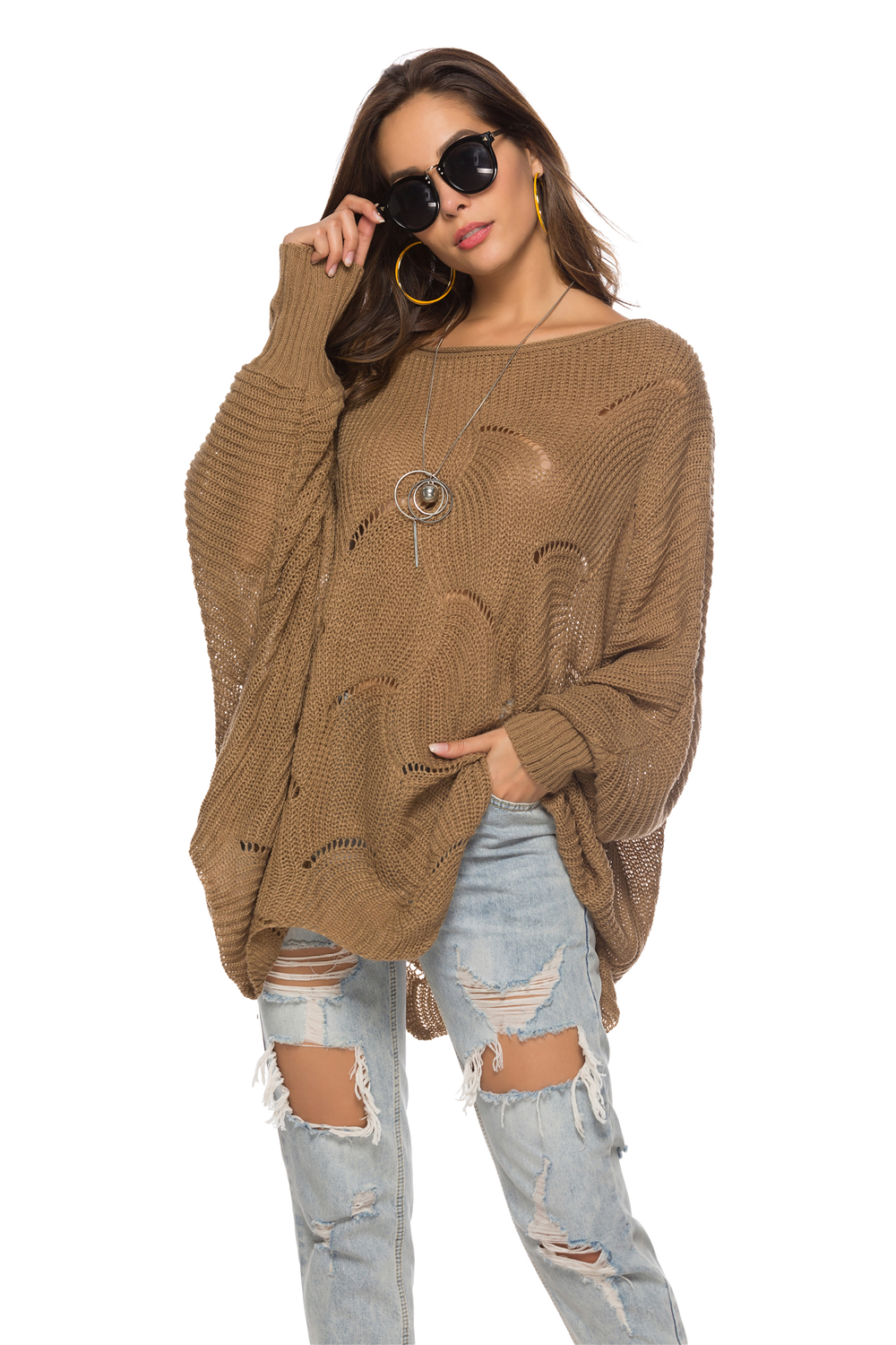 Hollow Out Knitted Sweater Women Autumn Winter Fashion O Neck Batwing Sleeve Solid Color Female Clothing Asymmetric Length Thin in Pullovers from Women 39 s Clothing