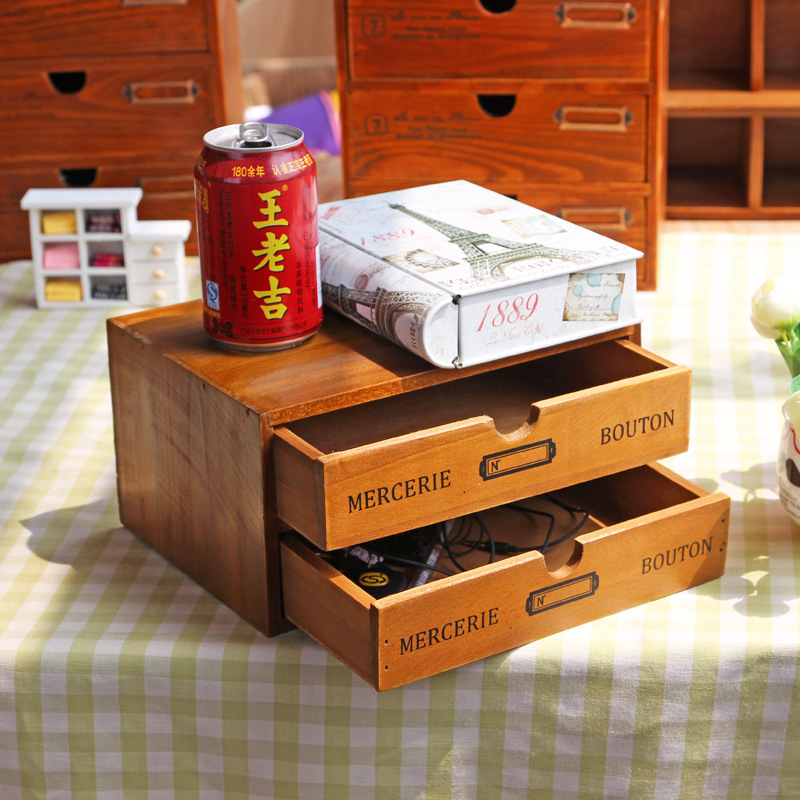 Home Storage & Organization Decoration Wood Cosmetic Box Vintage Wooden Storage Case Drawer Makeup Box Storage Boxes Supplies