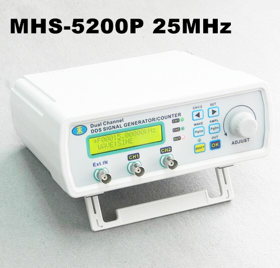 Générateur de Signal numérique double canal DDS générateur de forme d'onde arbitraire fonction générateur de signal 25 MHz MHS-5200P 50% de réduction