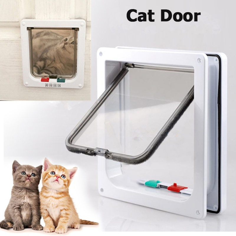 Animal Door For Cat 4 Way Lockable Abs Plastic Safe Cat Crate Gate Pet Door For Cats And Small Dogs Pass Through Wall Mount Door