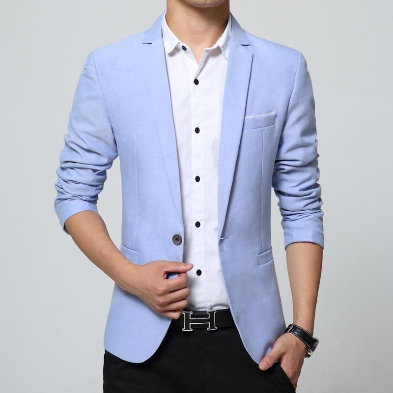 1e00cd6e18e 2019 Mens Light Blue Suit Blazer Jackets Casual Male Slim Fit Single ...