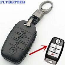 Чехол FLYBETTER из натуральной кожи для смарт-ключей с 4 кнопками для Kia Sorento/Rio/Rio5/Optima/K5/K4/KX3, автостайлинг L260
