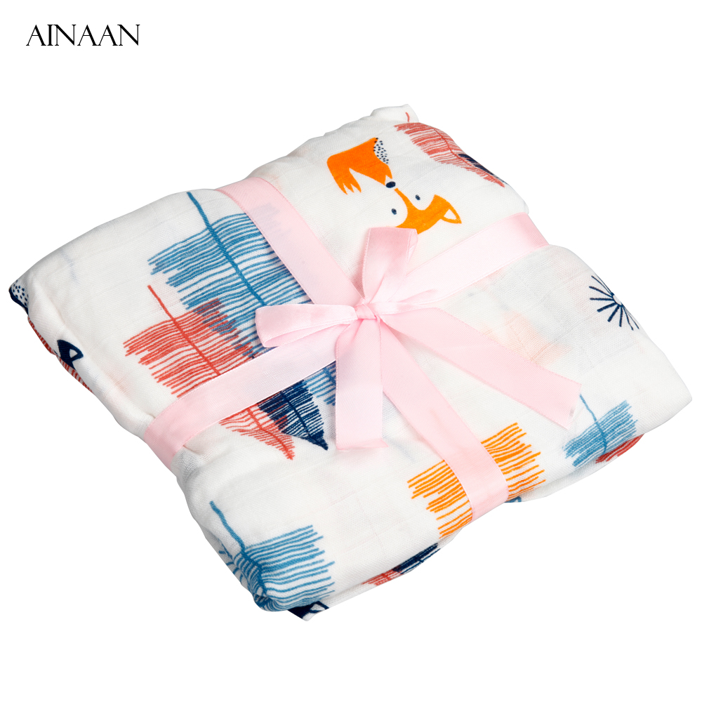 AINAAN Baby Blanket Muslin Swaddle Wraps Cotton Bamboo Baby Blankets Newborn Bamboo Muslin Blankets Fox
