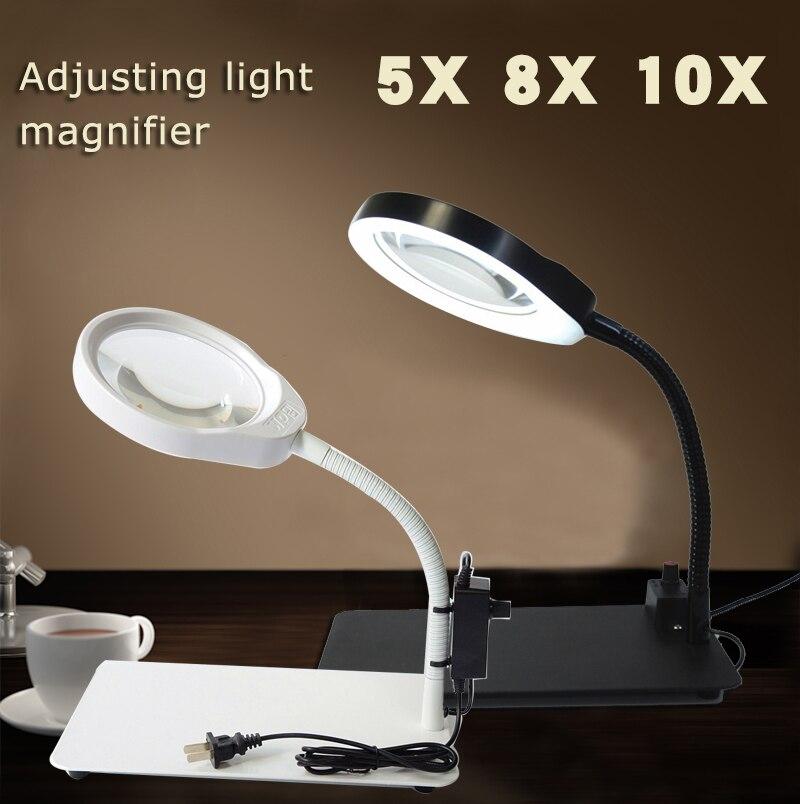 купить 5X 8x 10X Desktop Magnifying Glass With usb LED Lights Illuminated White Optical Glass Magnifer PCB Precision Parts Inspection по цене 3535.87 рублей
