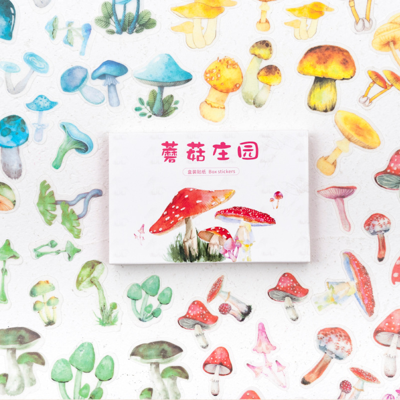 60 Pcs/pack Mushroom Manor Series Decorative Stickers Adhesive Stickers DIY Decoration Diary Stationery Stickers Children Gift