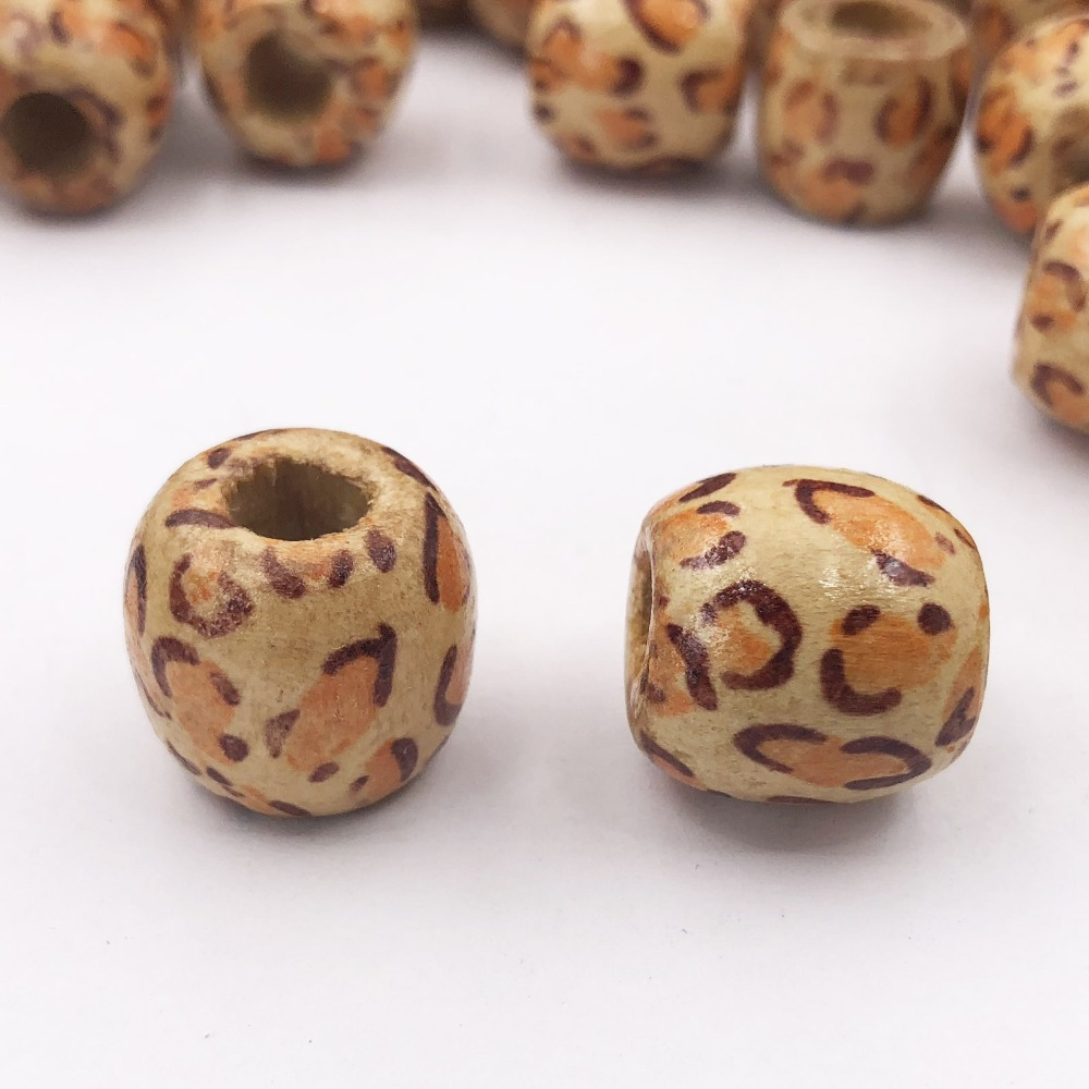 20PCs 17MM Fixed Mixed Flower Pattern Wooden Beads Big Hole Beads Fit Charm