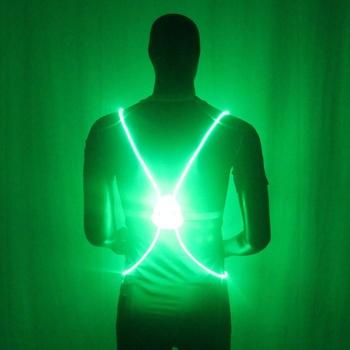 Gorący sprzedawanie 1 sztuk zapalić LED odblaskowe kamizelki pasek bezpieczeństwa noc działa jazda na rowerze Glow tanie i dobre opinie Swokii Octan El miga Reflective Pasuje prawda na wymiar weź swój normalny rozmiar JERSEY Vest Acetate Knitted 280cm 0 28cm