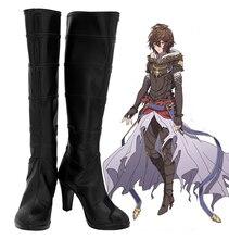 Granblue Fantasy Botas de Cosplay de Sandalphon, zapatos de tacón alto negro, fabricado a medida para Unisex