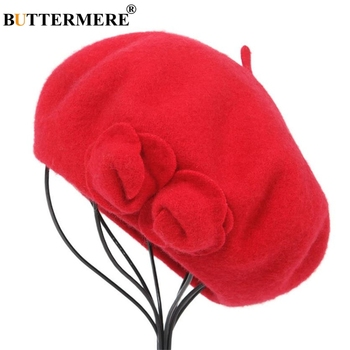 BUTTERMERE Wool Beret French Beanie Winter Hats For Women Flower Red Flat Cap Lady Girl Berets Female Bone Tocas Painter Hat siloqin elegant women s 100% wool berets hats for women simple solid fashion lady s brands painter cap female winter warm hat