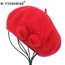 BUTTERMERE Wool Beret French Beanie Winter Hats For Women Flower Red Flat Cap La