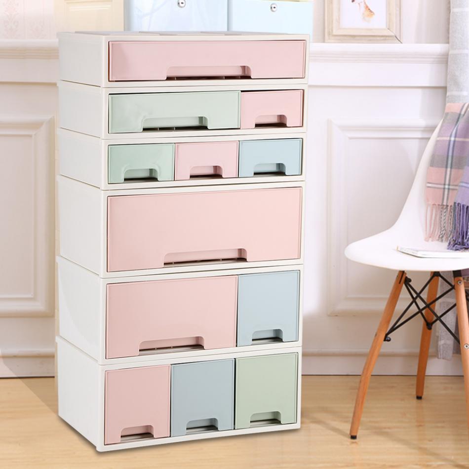Desktop Storage Box Makeup Organizer Container With  Drawers Jewelry Holder Plastic Make Up Box Cabinets Decor makeup organizer box