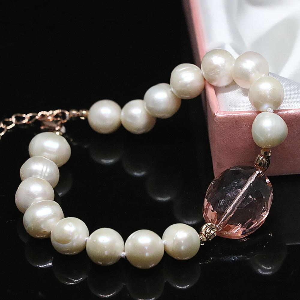 f763a83417e9 Blanco Perla de agua dulce natural redondo beads oval cristal único DIY  mujeres encantos pulsera joyería B1407