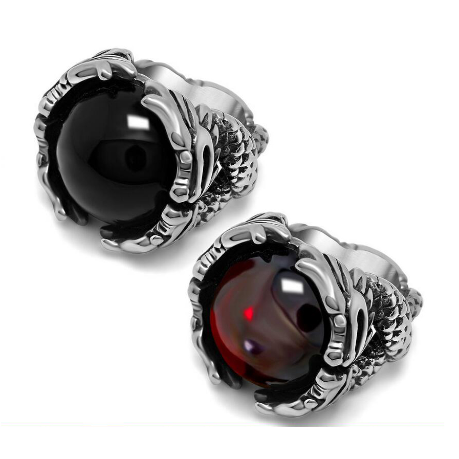 Retro Punk Red And Black Onyx Men's Domineering Animal Relief Rings Jewelry  316l Stainless Steel Wedding