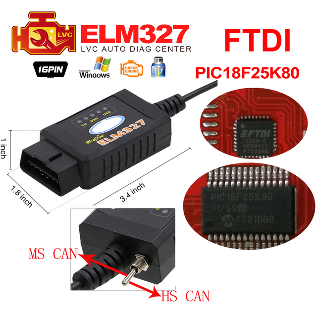 US $12 0 |Pic18f25k80 For Ford ELM327 USB FTDI chip with switch For Forscan  HS CAN/MS CAN car diagnostic Tool & ELM 327 Bluetooth Version-in Code