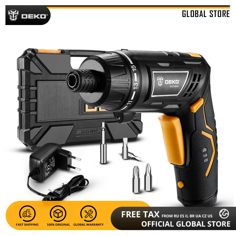 DEKO DCS3.6DU2 Cordless Electric Screwdriver with Rechargeable Battery Twistable Handle DIY Household Screwdriver with LED Light