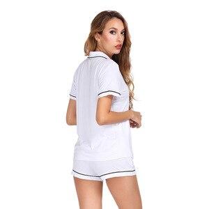 Image 5 - לבן צבע בית חליפת סט קצר שרוול עם מכנסיים פיג מה סט שני Pcs קיץ מזדמן סגנון 2019 פיג מה Mujer Verano