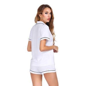 Image 5 - White Color Home Suit Set Short Sleeve With Shorts Pajamas Set Two Pcs Summer Casual Style 2019 Pijama Mujer Verano