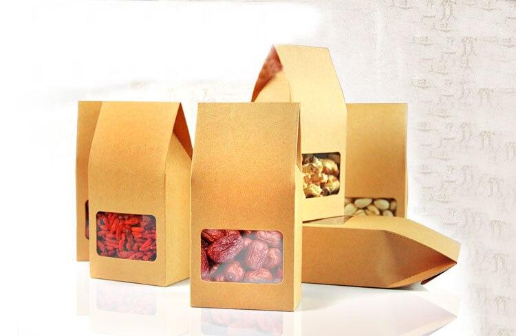 66b265cd3 8*15.5*5 cm 20 unids embalaje de calidad papel Kraft Stand Up bolsa de  alimentos ventana cuadrada caja Bolsas de tuercas/té/cake/cookies/café  Bolsas