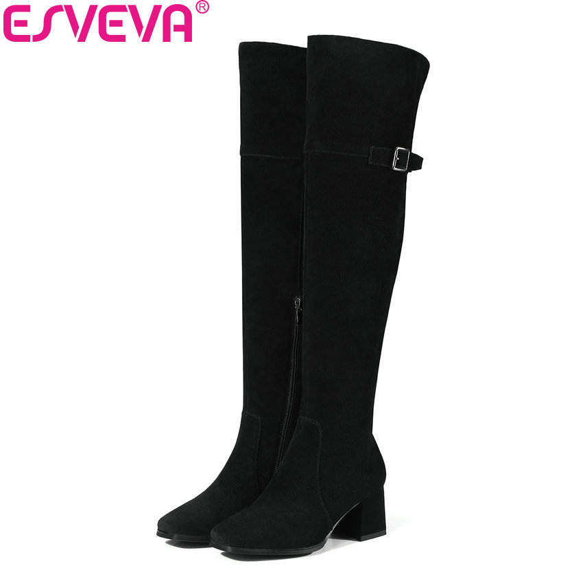 ESVEVA 2018 Women Boots Warm Fur Cow Suede Out Door Square Toe Over The Knee Boots Square High Heel Ladies Long Boots Size 34-39 esveva 2018 women boots elegant square high heels pointed toe ankle boots appointment lining warm fur pu ladies shoes size 34 39