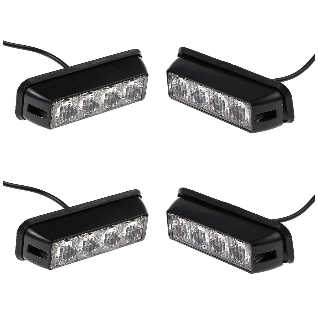 4x12/24v Black Recovery Strobe 4LED Lights Orange Grill Breakdown Flashing Lamp цены