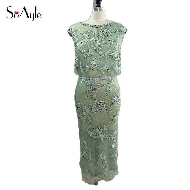 SoAyle Real Picture Vestidos de festa Skinny Tea Length Lace Beading ...
