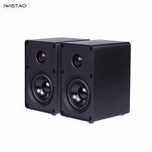 Alto falante iwistao 2 way 3 Polegada, 1 par de prateleira para estante de computador 40w 60hz 20khz preta/branca