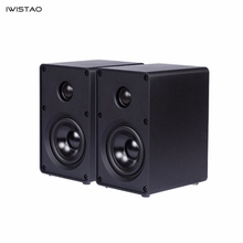 IWISTAO HIFI 2 voies 3 pouces haut parleur tout en aluminium 1 paire étagère ordinateur haut parleur 40 W 60 HZ 20 KHZ noir/blanc