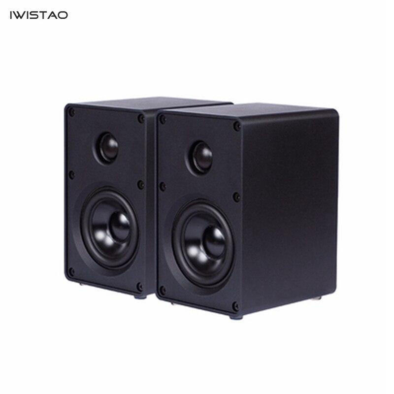 IWISTAO HIFI 2 voies 3 pouces haut-parleur tout en aluminium 1 paire étagère ordinateur haut-parleur 40 W 60 HZ-20 KHZ noir/blanc