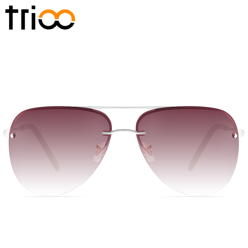 7a67387c526 TRIOO Rimless Frame Sunglasses For Women Polarized Pilot Sun Glasses Female  Brown Gradient Lens Lunette Femme Driving Shades New-in Sunglasses from  Women s ...