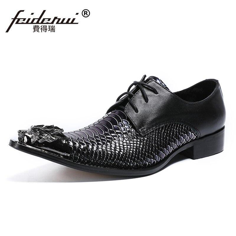 Plus Size Italian Style Pointed Toe Derby Man Wedding Party Footwear Genuine Leather Alligator Handmade Men's Modern Shoes SL450