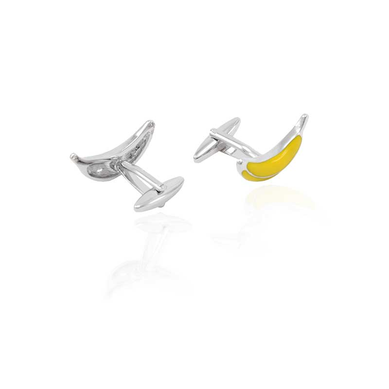 Novelty Yellow Banana Cufflinks New Trendy Gemelos Sleeve Button High quality Hot Selling Sopper Cuff Links Free Shipping in Tie Clips Cufflinks from Jewelry Accessories