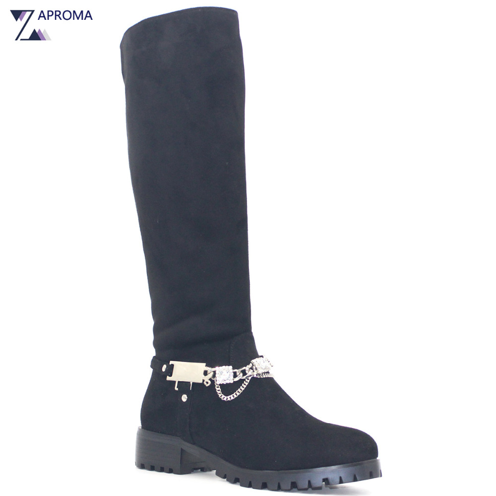 Women Black Boots Crystal Chain Knee High Square Heels Shoes Rhinestone Plush Suede Med Heel Winter Punk Boots Zipper Round Toe boots women high heel black crystal winter zipper shoes 2017 round toe square heel knee high short plush platform leather boots
