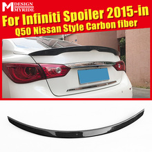 купить For Infiniti Q50 Q50S Nissan Style Rear Spoiler High-quality Carbon Fiber Rear Trunk Spoiler Wing car styling Accessories 15-in дешево