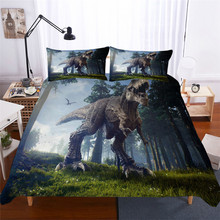 HELENGILI 3D Bedding Set Jurassic Park Dinosaur Print Duvet cover set bedclothes with pillowcase bed home Textiles #DG-18