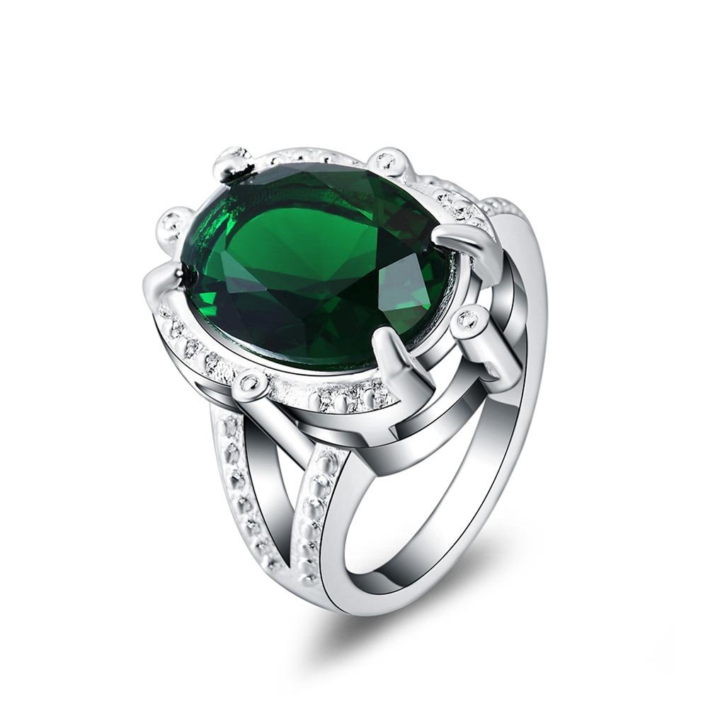 beautiful ring pretty fashion wedding party silver plated nice women green crystal lady ring jewelry lr049 - Pretty Wedding Rings