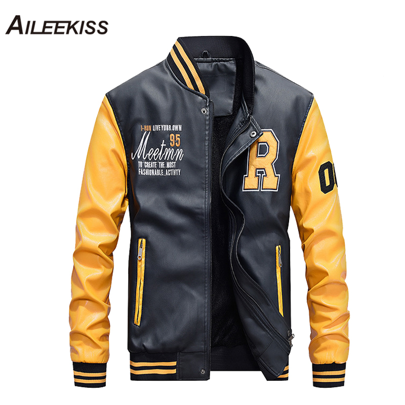 2019 New Fashion Men Leather Jacket Hit Color Boy Street Wear Baseball Jackets Man Thick Coat Casual Jaqueta Masculina XT691