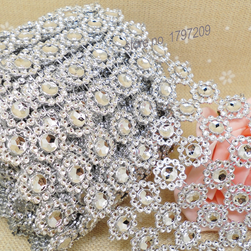 1 Yards Silver Rhinestone Daisy Flower Diamond Mesh Christmas Vintage Wedding Decoration Centerpieces Rustic Decor In Party DIY Decorations From