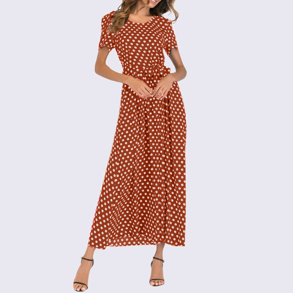 HTB1AE1UaB1D3KVjSZFyq6zuFpXam - Summer Dress Women O-Neck Short Sleeve Boho Polka Dot Bandage Maxi Long Dress Women Beach Sundress Plus Size Vestidos