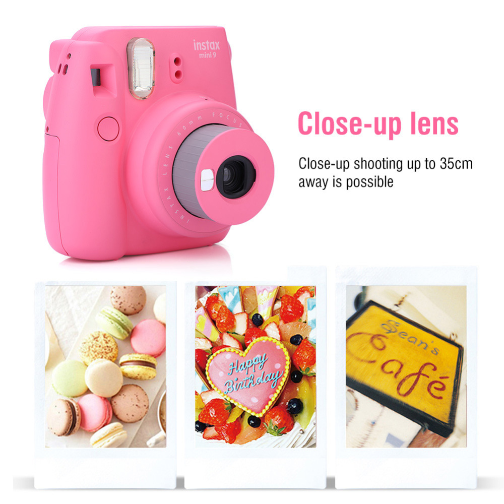 Fuji Fujifilm Instax Mini 9 Instant Film Photo Camera with Selfie Mirror +Wrist Strap+ Close-up Ring Gift Set 1