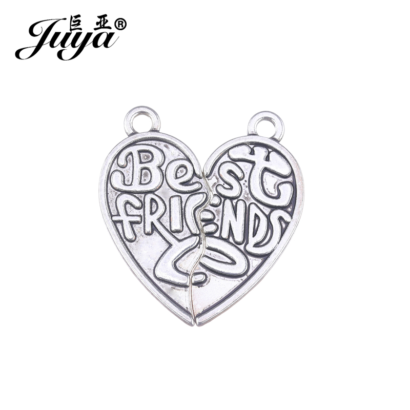 10pcs/lot Alloy Charms Best friend Words Two Hearts Represent Friendship Pendant for Bracelet Neckalce DIY Jewelry Making AO0835 image