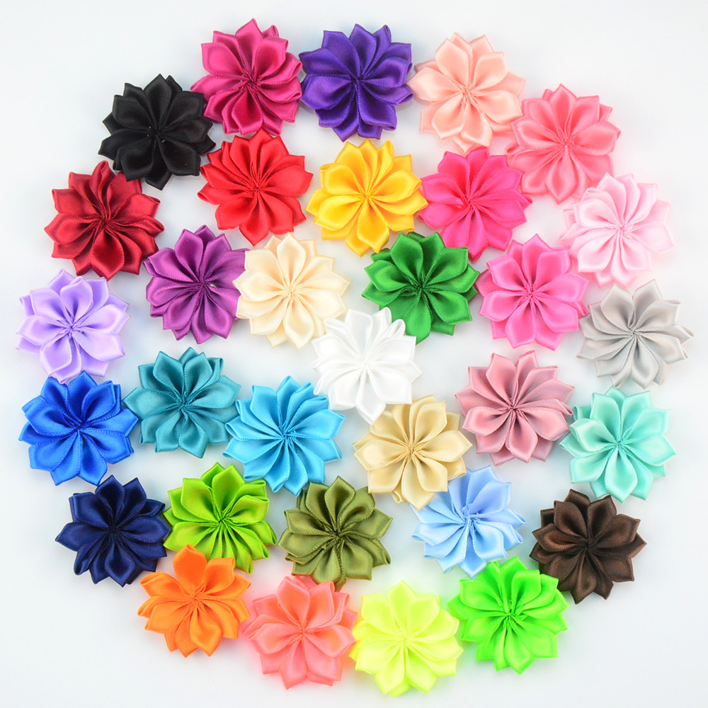 100pcs/lot 4.5cm Multilayer Little Satin Ribbon Fabric Flower Child Apparel And Headband Popular Accessories 40 Colors TH218