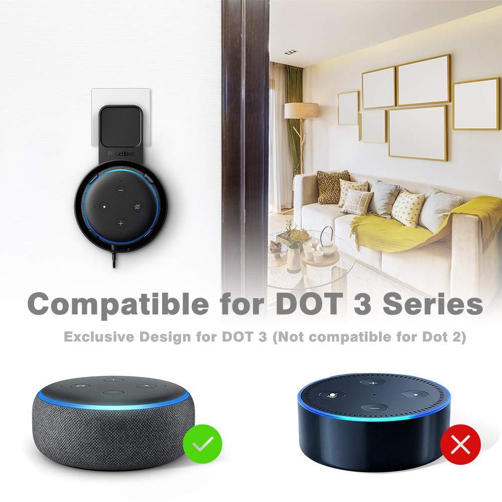 Durable Wall Mount Holder Stable Home Socket Safe Bracket PLUG IN for Echo Dot 3
